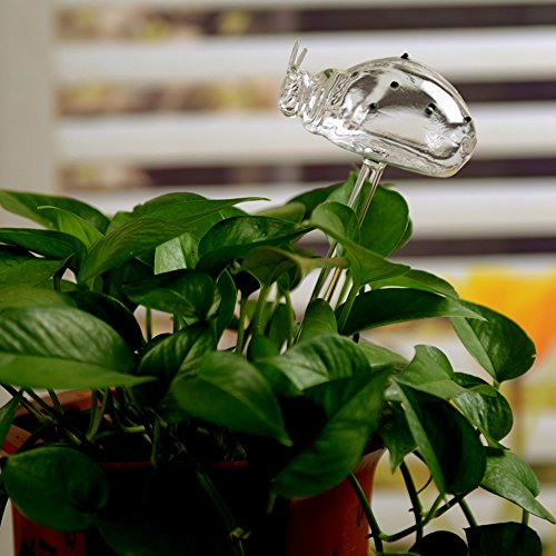 Automatic Potted Waterer Self Plant Watering Bird Glass Drip Auto Feeder Smart House indoor Desk Plants Food Water Container Can Irrigation Irrigator Controller Drippers Adapter kids (3pcs Ladybug) by YAKU