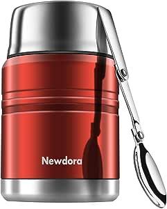 Newdora Insulated Stainless Steel Food Jar with Folding Spoon, Braised Beaker, Bag-Vacuum Double Walled BPA Free,Unbreakable,Leak Proof 17 Ounce(Red)
