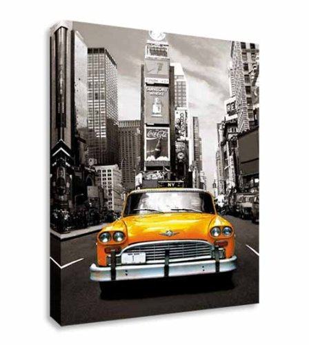New york taxi cab black white yellow wall art canvas prints art cheap 40x30 inches
