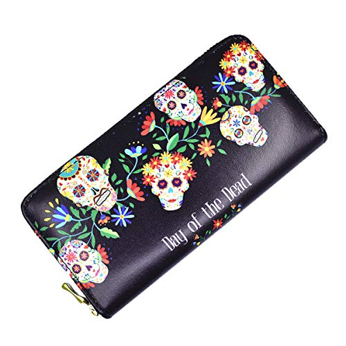 Candy Skull Womens Wallet Gothic Punk Clutch Card Holder Case Leather RFID Blocking Purse -