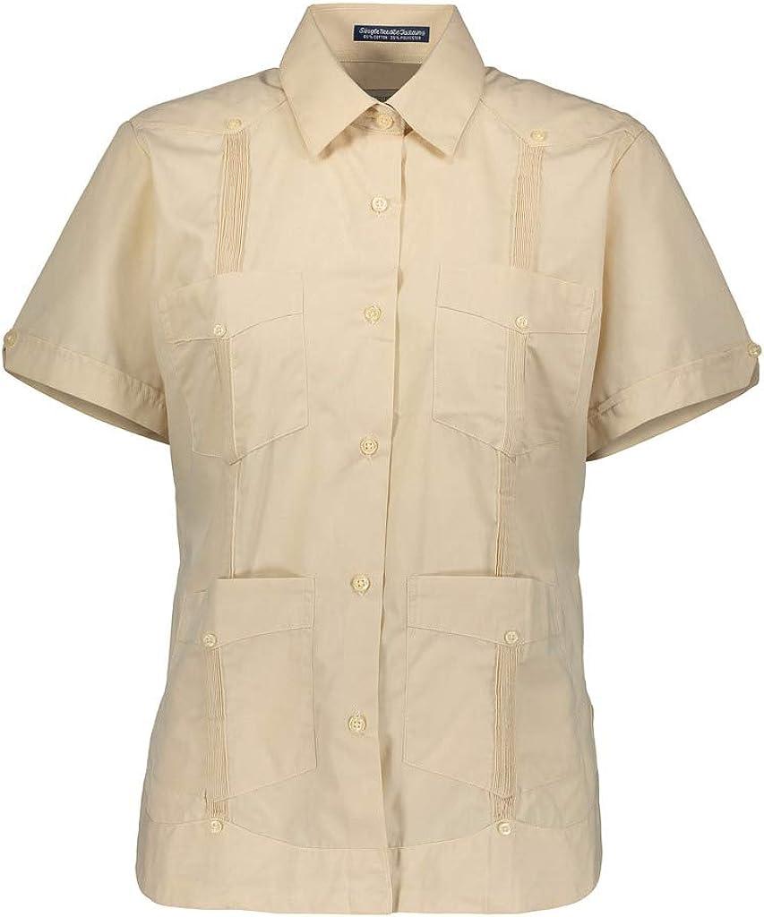 AKA Guayabera Camisa sin Arrugas de Manga Corta con Aspecto de Lino para Mujer - Beige - X-Large: Amazon.es: Ropa y accesorios