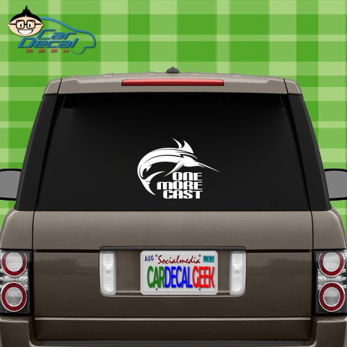 Marlin Fish One More Cast Vinyl Decal Sticker for Car Truck Window Laptop MacBook Wall Cooler Tumbler | Die-Cut/No Background | Multiple Sizes and Colors, 14-Inch, Green