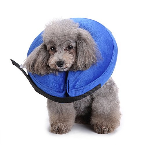 MDCT Protective Inflatable Dogs Cats Collar Soft Pets Recovery E-Collar Cone Blue by MDCT