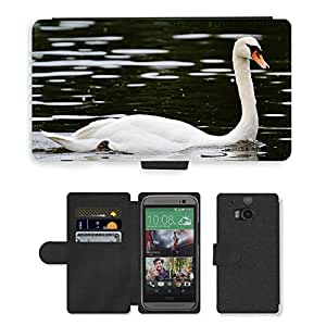 PU LEATHER case coque housse smartphone Flip bag Cover protection // M00133401 Cisne Pájaro Pluma Agua Aves Aves // HTC One M8