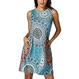 Hot Sale Dress,Han Shi Womens Vintage Boho Party Beach Floral Tunic Sundress (Multicolor, L)