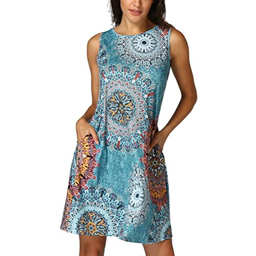 Dress,Han Shi Womens Vintage Boho Party Beach Floral Tunic Sundress (Multicolor, -
