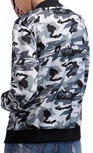 Fllay Womens Stylish Camo Zip Up Pockets Slim Bomber Jacket Coats