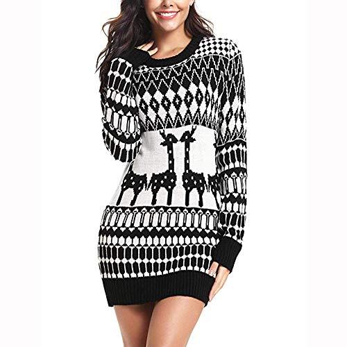 (Christmas Sweater Women Ugly Snowflake Merry Xmas Sweatshirts Pullover)