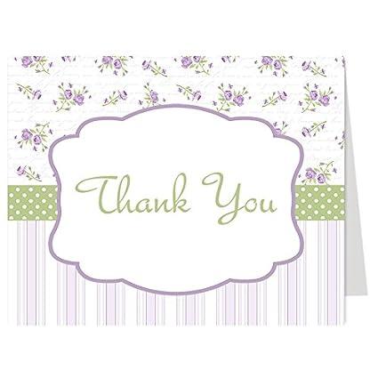 Amazon Com Thank You Cards Floral Flowers Stripes Lavender