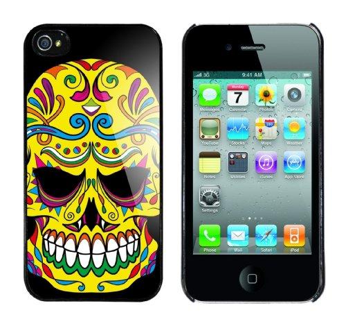 Iphone 4 Case Flower Skull Rahmen schwarz