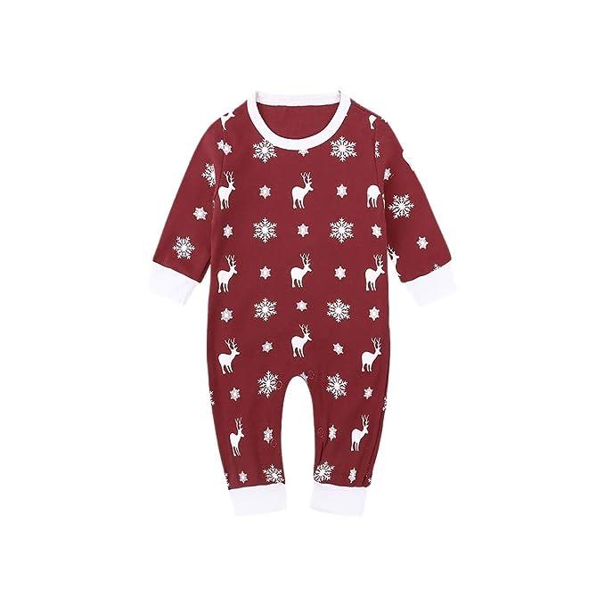 Hzjundasi Mono de Pijamas para Bebés Mono de Recién Nacido para Niños - Mono de Algodón Mono de Manga Larga para Niños de Navidad Modelo Elk 1 M - 12 M: ...