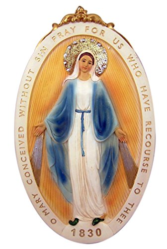 Catholic Brands Our Lady of Grace Miraculous Medal Resin Wall Plaque, 12 Inch (Miraculous Medal Statue)