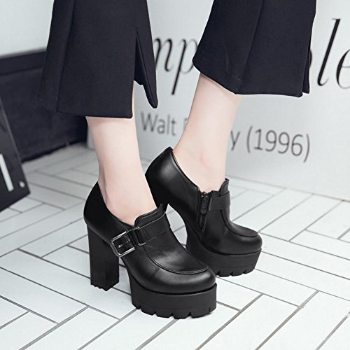 Mee Shoes Women's Fashion High Block Heel Zip Ankle Boots Black f1KyLPw7tF