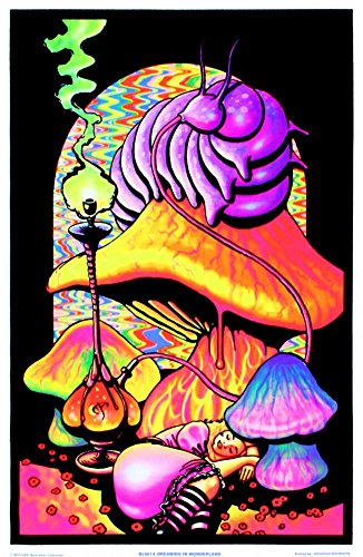 Dreaming Flocked Blacklight Poster Art Print 23 x 34in (Mushroom Blacklight Poster)