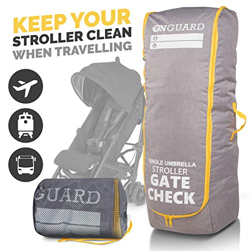 OnGuard Stroller Travel Bag for Single Strollers - Waterproof Rip Resistant Polyester Compact - Stroller Bag Cover Accessories, Stroller Bag for Airplane, Gate Check Bag for Baby Stroller