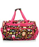Owl Give A Hoot Owl Print Large Duffle Bag (Pink)
