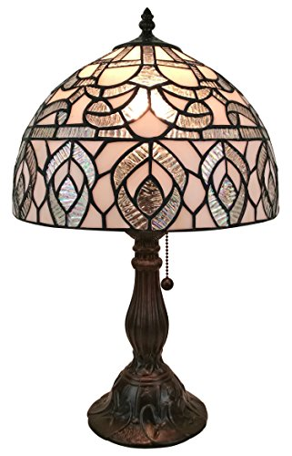 Tiffany Peacock Feather Table Lamp - Amora Lighting AM276TL12 Tiffany Style Peacock Design Table Lamp, White