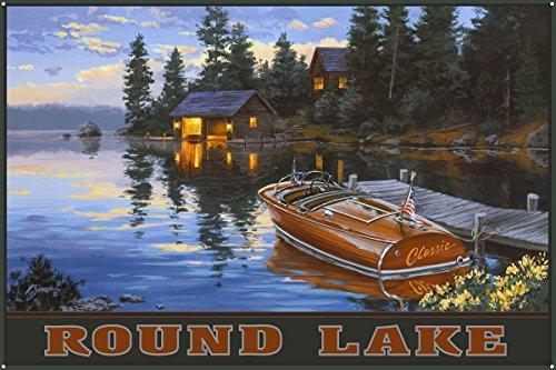 Round Lake Metal Art Print by Darrell Bush