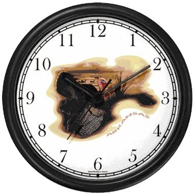 - Arkansas Icons - Wild Turkey, Ozarks - American Theme Wall Clock by WatchBuddy Timepieces (White Frame)