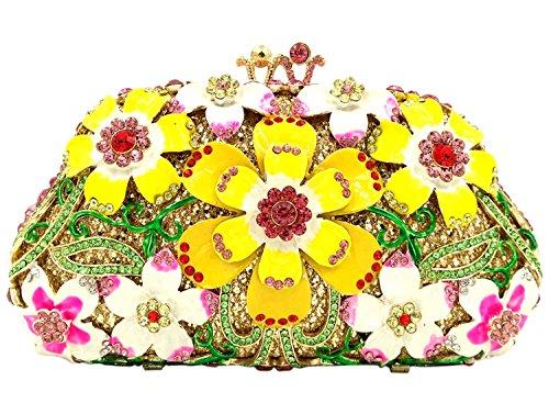 Donna Bianco Cerimonia Borsa Yellow Borsetta Spalla Sera Pochette Fiore Eleganti Partito Frizioni Sposa Portafoglio HCTwxrHnq7