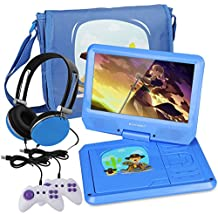 KOCASO 9 INCH Kids Portable Foldable CD/DVD Player W/Matching Headphones. 2 FREE Game Controllers, Rechargeable Battery, Swivel Screen, SD Card Slot, USB Port, AV Jack Personal DVD Player [BLUE]