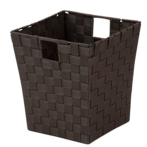 Honey-Can-Do OFC-03702 Double Woven Waste Basket with Handles, 10 by 10 by 11-Inch, Espresso Brown