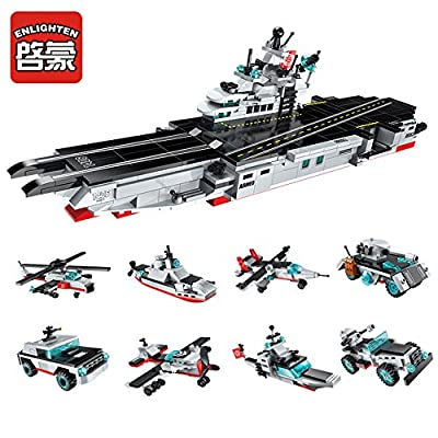 Enlighten Military Building Block 8in1 Nuclear Powered Aircraft Carrier 632pcs - No Original Box: Toys & Games