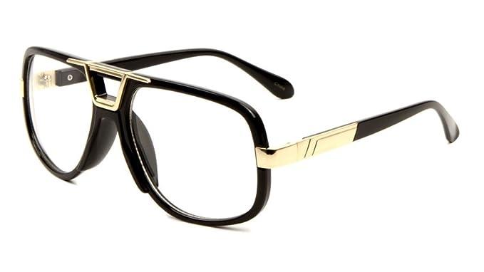 305320d2256 Amazon.com  Gazelle Deejay Square Retro Aviator Sunglasses (Black ...