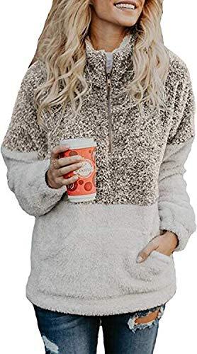 Vansha Womens Faux Shearling 1/4 Zip Pullover Cozy Sherpa Jacket Long Sleeve Fuzzy Fleece Sweatshirt Outwear Coat Coffee
