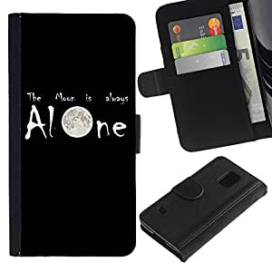 Billetera de Cuero Caso Titular de la tarjeta Carcasa Funda para Samsung Galaxy S5 V SM-G900 / Moon is Always Alone / STRONG