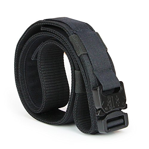 Aiduy 1.5″ Tactical Duty Belt with Cobra Buckle for EDC Molle equipment 1000D Nylon (Black, Medium)