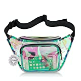 Water Resistant Shiny Neon Fanny Bag for Women Rave Festival Hologram Bum Travel Waist Pack (Clear Iridescent)