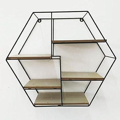 maiuguali Txt Estantería París de pared hexagonal con estructura de metal y 5 estantes de madera 54 x 19 x 47 cm