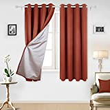Deconovo Grommet Blackout Curtains with Backside Silver Window Coverings for Baby Room 2 Panels, 52×63 inch, Orange Red For Sale