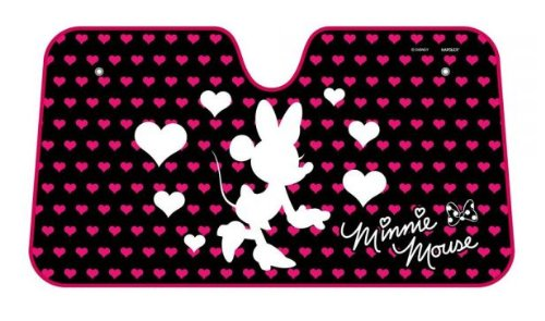 Minnie Mouse Classic with Hearts and Bow White Silhouette and Pink Hearts Disney Car Truck SUV Front Windshield Sunshade - Accordion Style