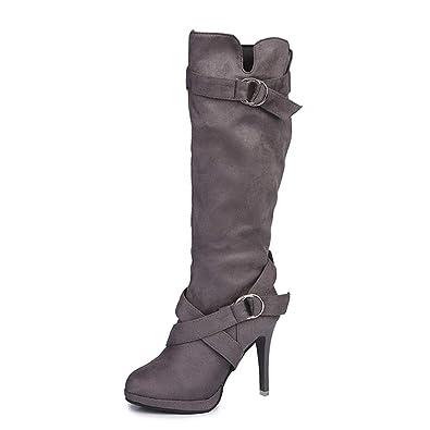 2018 Otoño Invierno Mujer Botas Martin tacón cuña Altos Botines con Cordones Calzado Dama Zapatos Piel Bajos Talla Grande Botas Chelsea Calzado de Trabajo: ...