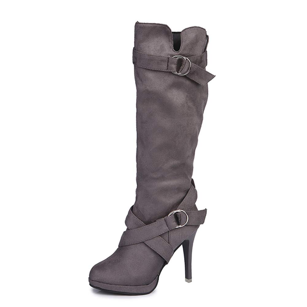 ✔ Hypothesis_X ☎ Women's Over The Knee Stretchy Faux Suede Pull On Thigh Stiletto Boots Buckle Roman Platform High Heels Gray