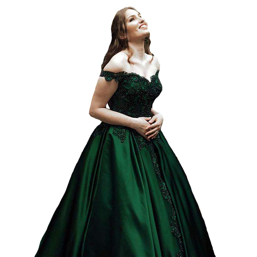 Emerald Green Kivary Off The Shoulder V Neck Beaded Lace Long Ball Gown Prom Evening Dresses