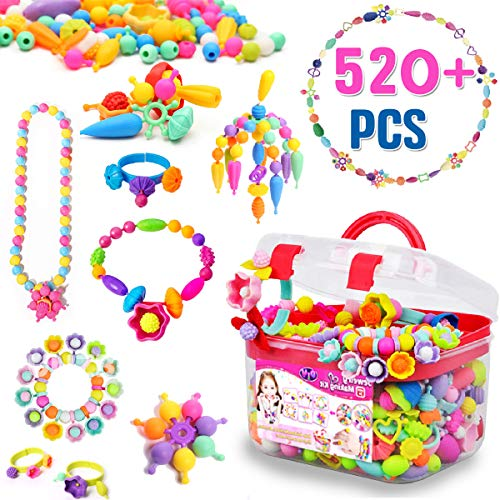 FunzBo Snap Pop Beads for Girls Toys - Kids Jewelry Making Kit, Pop-Bead Art and Craft Kits DIY Bracelets Necklace Hairband and Rings Toy - Best Gift for Age 3 4 5 6 7 8 Year Old (Best Gifts For Eight Year Olds)