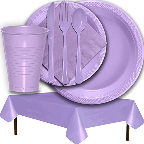 Plastic Party Supplies for 50 Guests - Lavender - Dinner Plates, Dessert Plates, Cups, Lunch Napkins, Cutlery, and Tablecloths - Premium Quality Tableware Set