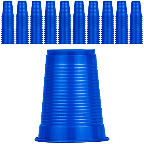 DecorRack 140 Party Cups, 7 oz -BPA Free- Plastic Soda Cups, Perfect for Birthday, Picnic, Indoor and Outdoor Events, Stackable, Reusable, Disposable Round Beverage Drinking Cups, Blue (Pack of 140)