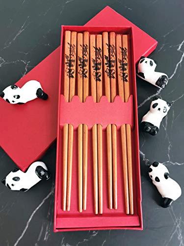Panda Chopsticks and Chopstick Holder 5 Pairs | Japanese Style Chopsticks | Panda Chopsticks Rest Holder 5 Pandas | Natural Reusable Classic Style Chopsticks Gift Set | Perfect Chopsticks, Gift and Ho ()