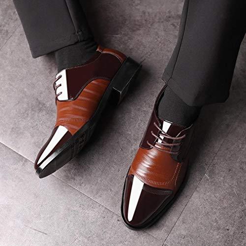En Hombre Oxford Zapatos Cordones Vestir Cordones con Marrón de Boda Zapatos y 38 Modernos de Zapatos Logobeing Piel 47 Zapatos Forrados xqFBwX7X