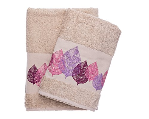 Ebru Winter Leaves Embroidered Bath and Hand Towel Set Be...
