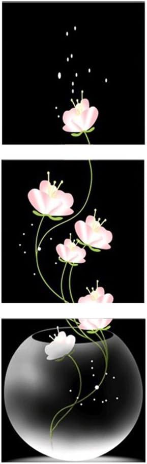 ZHOUBA - Cuadro tríptico sin marcos; lienzos con motivo de jarrón y flores, pintura para decoración de paredes, decoración del hogar, Tela mate impermeable., Multiusos., 50*50cm