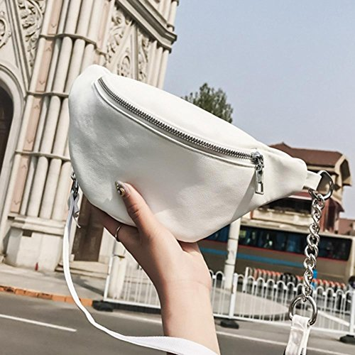 White Everpert Waist PU Fanny Belt Handbags Shoulder Belly Women Leather Chest Pack Zipper URrawqxUn7