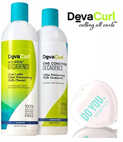 Decadence Set - DevaCurl DECADENCE No-Poo Zero-Lather Ultra Milk Cleanser & One Condition Ultra Milk Conditioner DUO Set (with Sleek Compact Mirror) (Decadence - 12 oz DUO Kit)