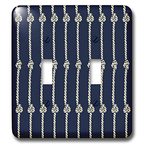 3dRose Russ Billington Nautical Designs - Knotted Rope Nautical Design in Blue and Ivory - Light Switch Covers - double toggle switch (lsp_291543_2)