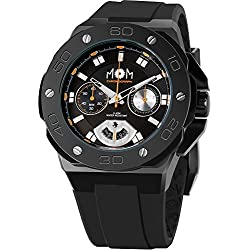 Men's Italian Designed M.O.M.Winner Chrono Black Stainless Steel with Black Dial and Black Silicone Rubber Strap Quartz Chronograph Watch PM7110-926
