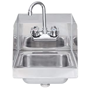 "Stainless Steel Hand Sink with Side Splash - NSF - Commercial Equipment 16"" X 16"""